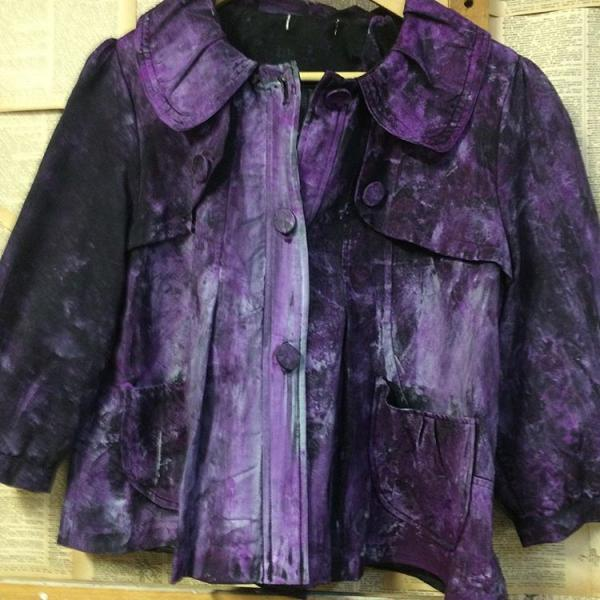 [Image: 20228 Dixie Hand Painted Purple Coat $85 is a one of a kind, handpainted jacket. It is size medium.]