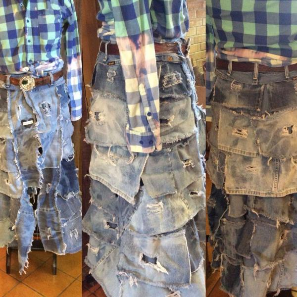 [Image: 20204 Destroyed Denim Bustle Skirt is made from hand distressed and otherwise broken in and worn jeans. The waistband is also from worn jeans. Specify your waist size and length when ordering.]