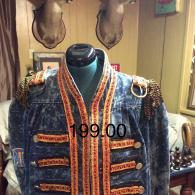 20203 Michael J. Bleached Band Coat had added corded trim, leather, and fringe epaulets. Order small - large sizes.
