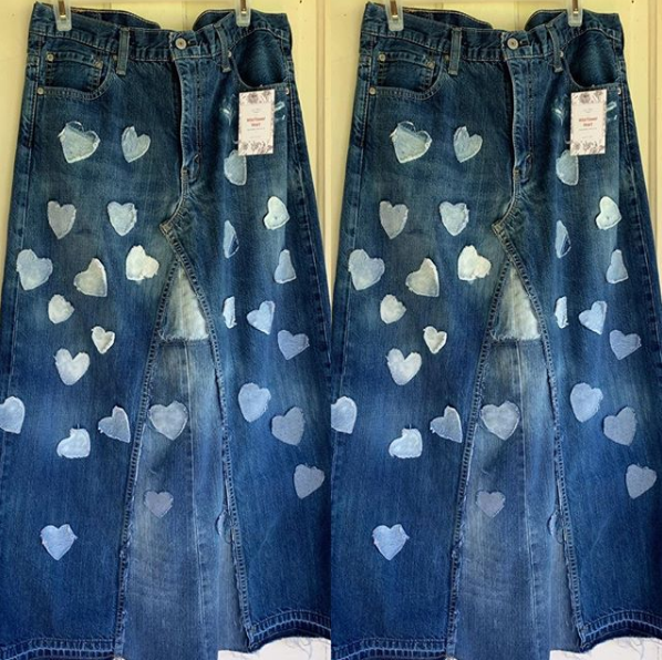 20199 Sara Long Denim Skirt is made from pre-loved jeans. To order, specify waist size and length.