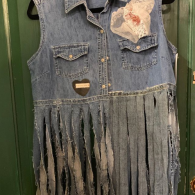 20205 Sally Chambray Fringed Vest $99